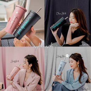 750ML Double Wall Stainless Steel Black / Dusty Pink / Dusty Blue Bubble Tea Tumbler with Straw