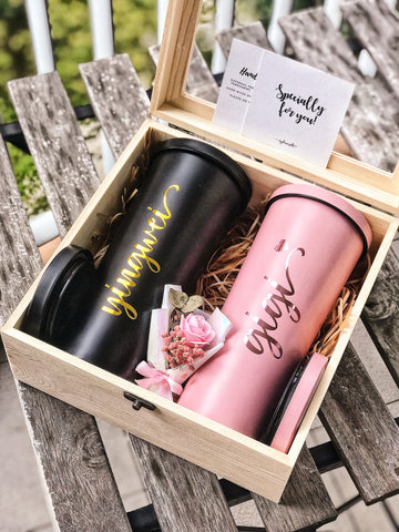 [BUNDLE] : Couple Custom Wooden Box + 750ml Double Wall Stainless Steel Bubble Tea Tumbler with Straw