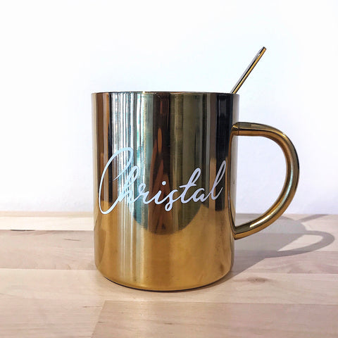 Luxe Gold Stainless Steel Mug + Gold Spoon