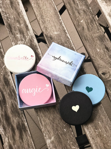 PU Leather - Round Compact Mirror
