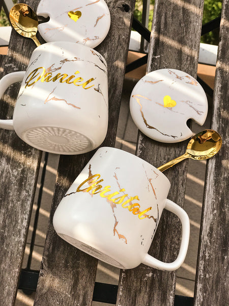 [BUNDLE] : 380ml Couple White Gold Marble Mug with Lid + Gold Spoon + w/wo Marble Tray