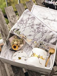 [BUNDLE] : White Gold Marble Mug with Marble Pouch w/wo Marble Keychain