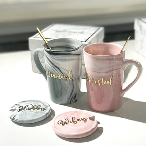 Pink Tall Marble Mug With Lid Cover + Gold Spoon + Black Box