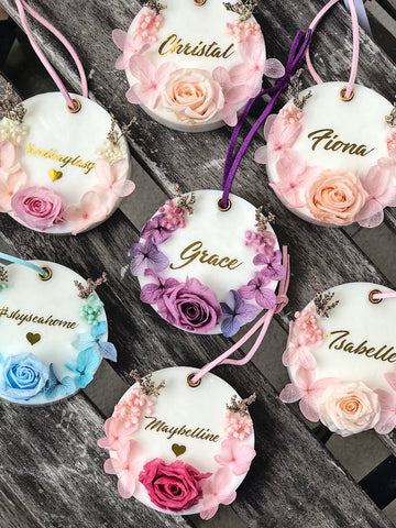 Preserved Rose Floral Scented Wax Tablet (Solid Design with Name)  [Exclusively Handmade by MDV]