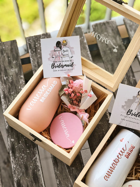 [BUNDLE] :  Custom Wooden Box + Stemless Champagne Tumbler + Mirror