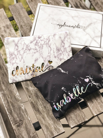 [BUNDLE] : Black / White Marble Pouch with/wo Marble Keychain