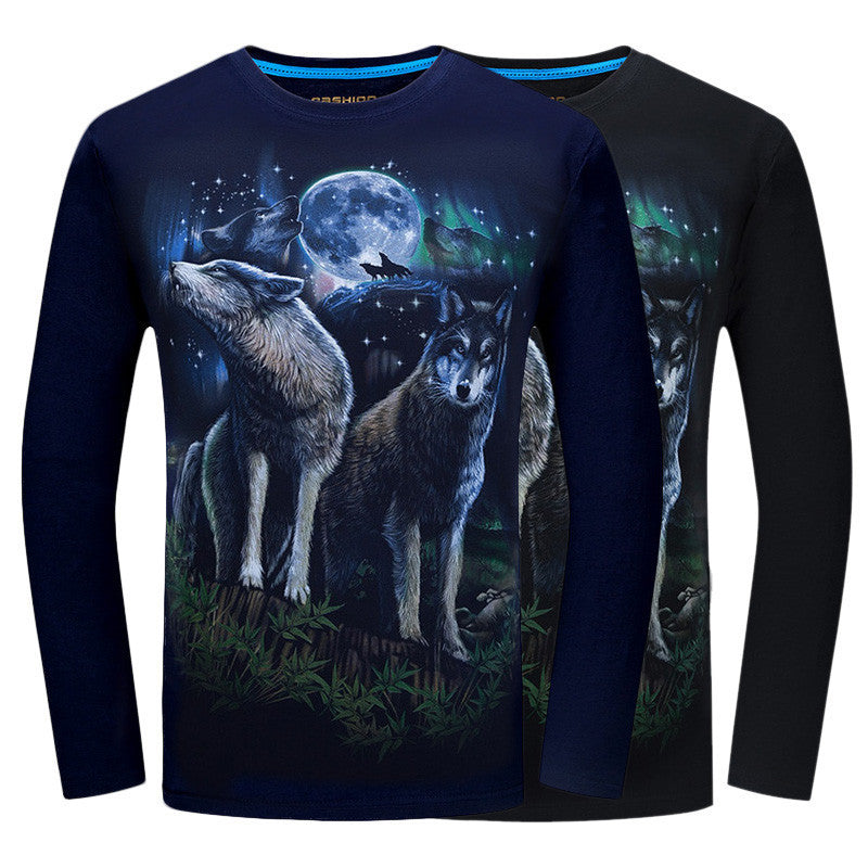 3D Wolf T-Shirt Long Sleeve
