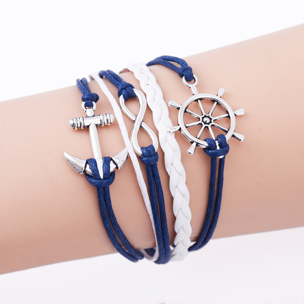 TOMTOSH 2016 New Handmade Wristband Braided Wax Cords Love Anchor Owl Hungry Games Leather Charms bracelets