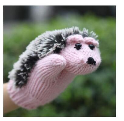 New 5 Colors Girls Novelty Cartoon Winter Gloves for Women Knit Warm Fitness Gloves Hedgehog Heated Villus Wrist Mittens
