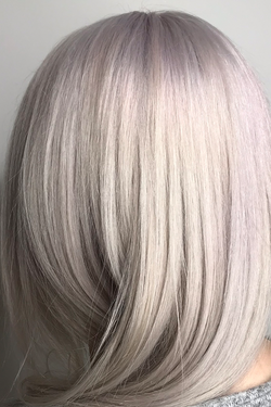 Model with hair washed out with Silver Shampoo