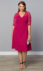 Plus size faux wrap dress pink