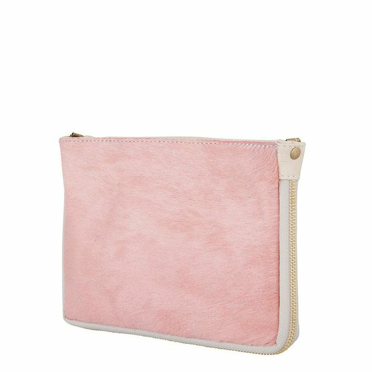 Leather Clutch with light pink cow skin