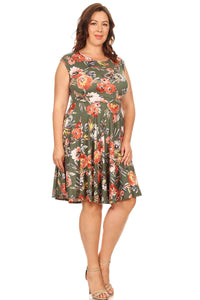 plus-size-folral-a-line-dress