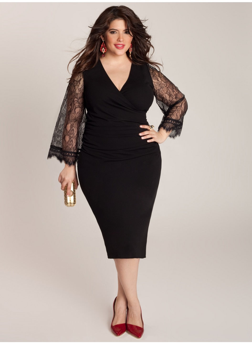 Paola Plus Size Black Dress with Lace Sleeves