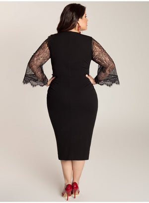 d388792fe0519 Paola Plus Size Black Dress with Lace Sleeves – Lady Plus Fashion ...