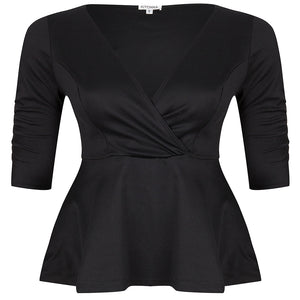 party-ponte-plus-size-peplum-top-black