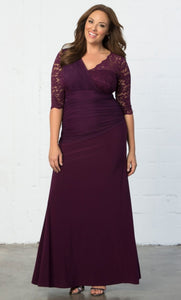 plus size evening dress plum