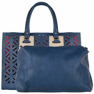 Trendy PU Leather Handbag  Dark Blue
