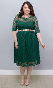 plus size lace dress green