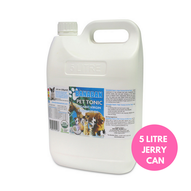 BANABAN Organic Pet Coconut Oil Supplement 5 Litre Jerry Can