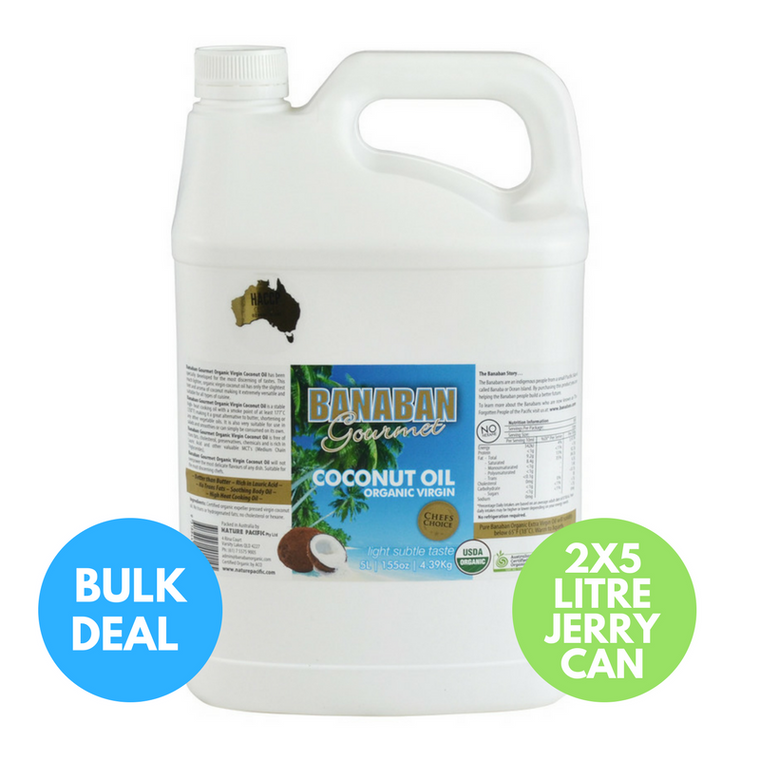 BANABAN Gourmet Certified Organic Virgin Coconut Oil 2 x 5 Litre (Light & Subtle Tasting) JERRY CAN