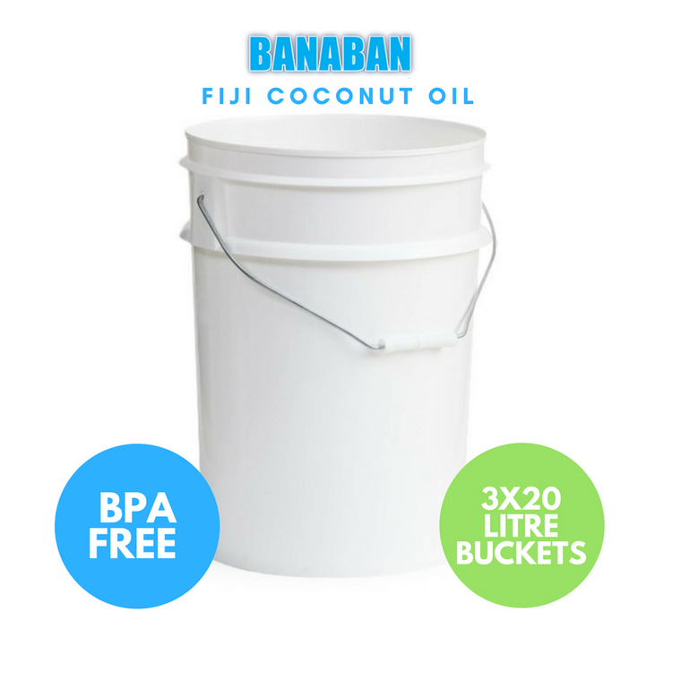BANABAN Organic Fiji Grown Extra Virgin Cold Pressed Coconut Oil 3 x 20 Litre Tub