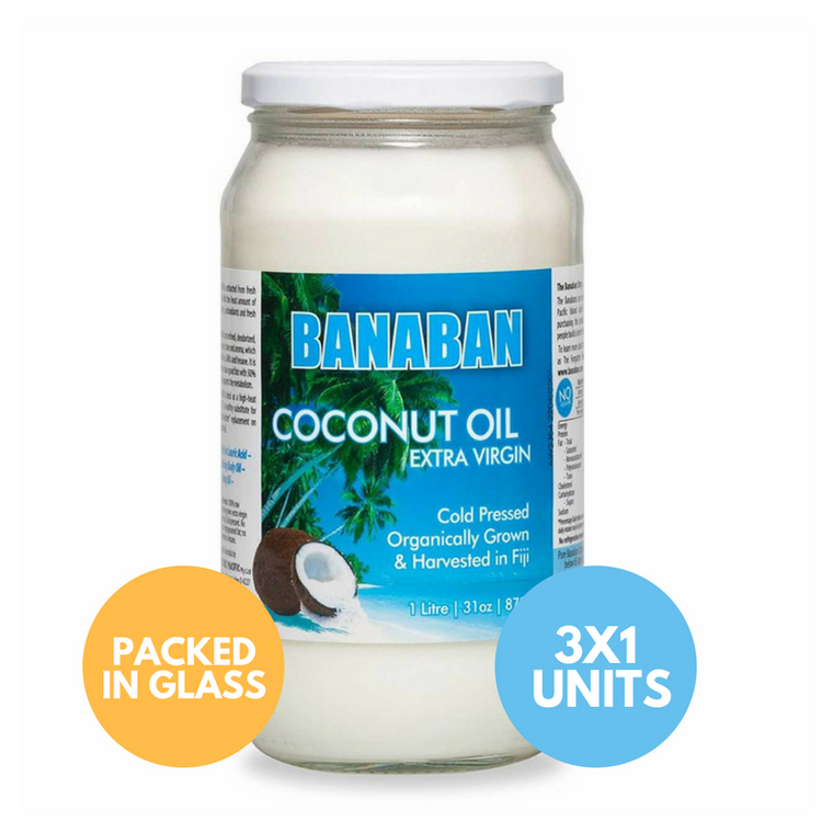 BANABAN Organic Fiji Grown Extra Virgin Cold Pressed Coconut Oil 3 x 1 Litre (GLASS)