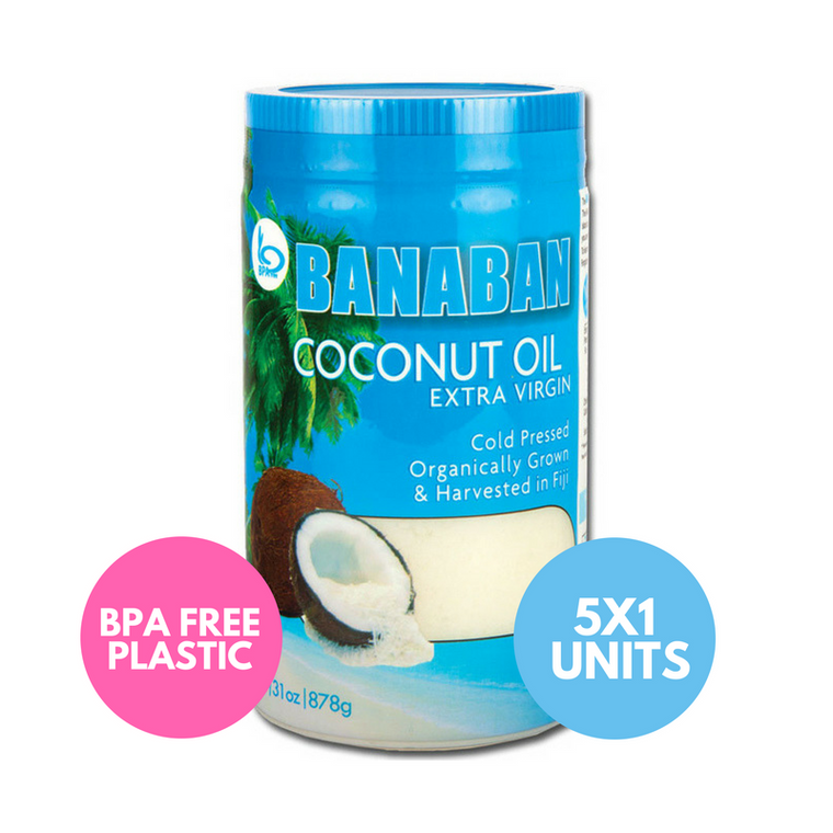 BANABAN Organic Fiji Grown Extra Virgin Cold Pressed Coconut Oil 5 x 1 Litre
