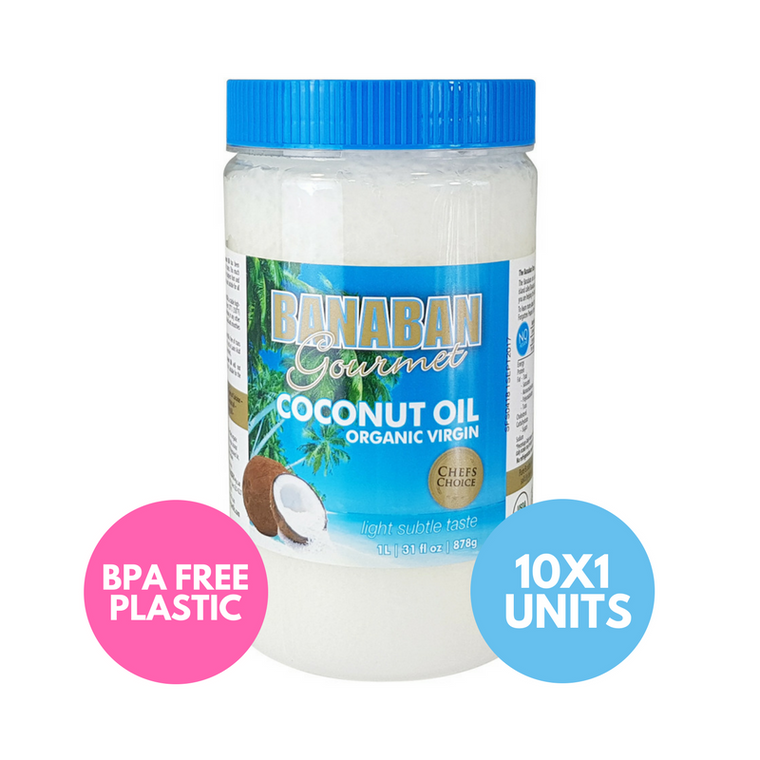BANABAN Gourmet Certified Organic Virgin Coconut Oil 10 x 1 Litre (Light & Subtle Tasting)