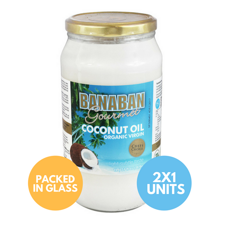 BANABAN Gourmet Certified Organic Virgin Coconut Oil 2 x 1 Litre (Light & Subtle Tasting) (GLASS)