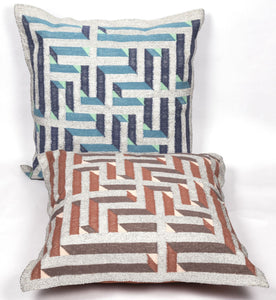 Amaze Deegh Dhurrie Cushion 2x2 BlueSilver Home Objects Cushions / Bolsters Durrie weaving, handcrafted, made in India, artist