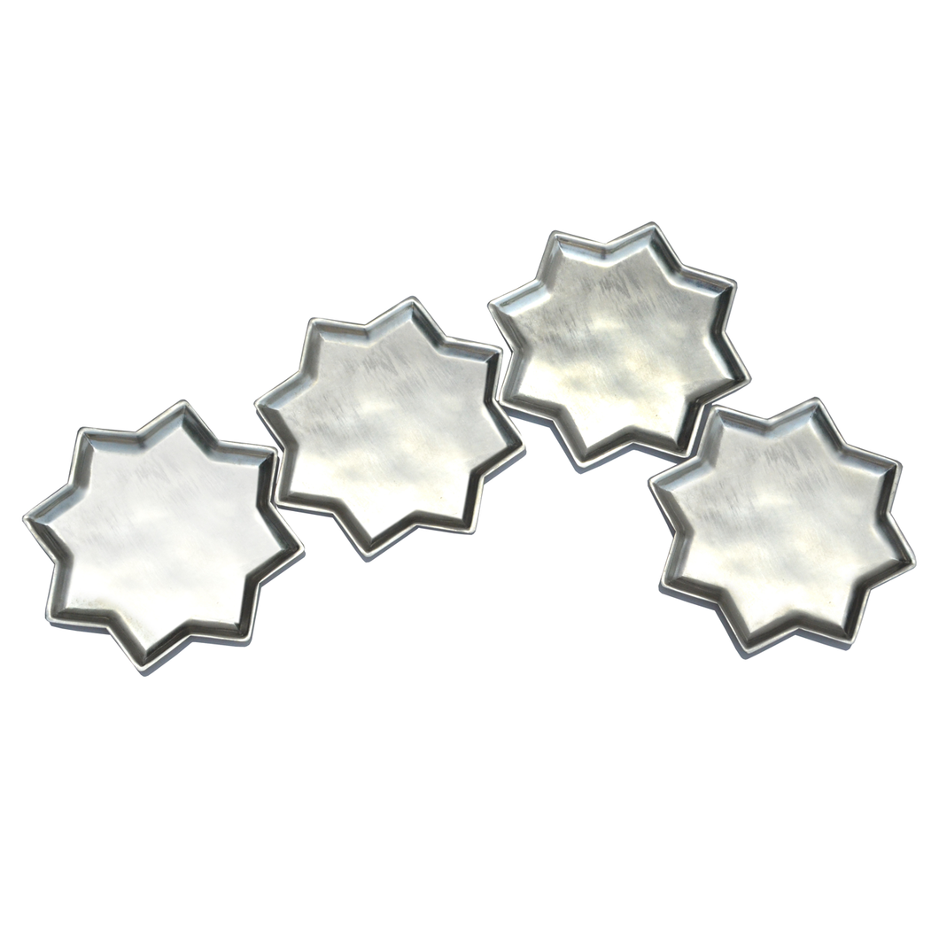 8 Point Star Plate With Kalai Set of 4