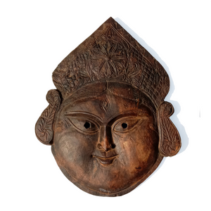 Handcrafted Art Craft Mask Cover Tribal Design Hand Craved Kali Durga Devi Wooden Mask