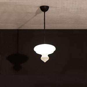 Benaras Pendant Lamp Finial Wide ceiling lamp hanging lamp lighting handblown frosted glass, brass, and hand-turned marble