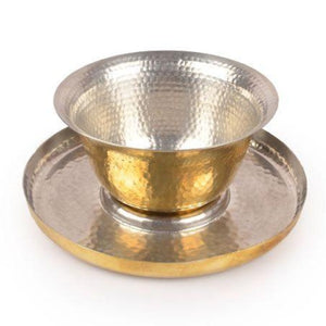 Hookka bowl & plate festive serving dinning home objects smoky glass thathera handbeaten metal craft