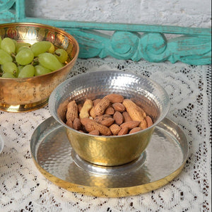 Hookka Bowl & Plate hand-hammered brass natural kalai home decor dinning serving