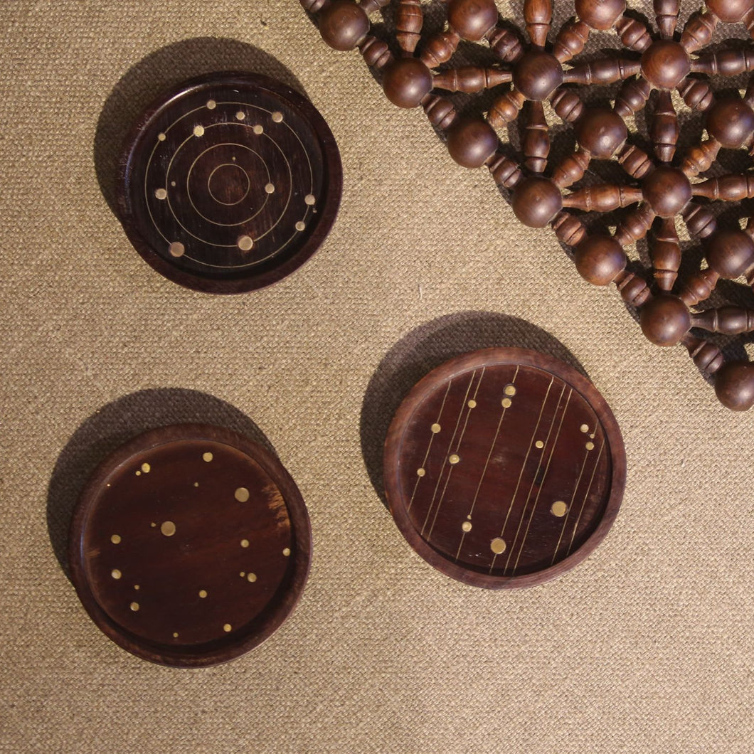 Cassini Coasters Set of 3: Titan-Intergalactic-Enceladus Home Objects Dining, wooden coaster, vintage, crafted, coaster.