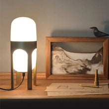 Ettore table lamp lighting aluminum opel glass handblown handcrafted, table lamp