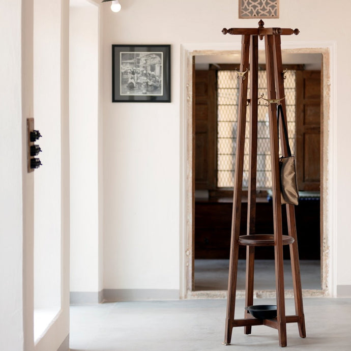 Harvard Coat Stand Furniture Apparels Accessories Shisham Wood Stainless Steel Cast brass