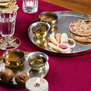 Hookka Thaali festive serving dinning home objects thali set of 3 thathera handbeaten metal craft