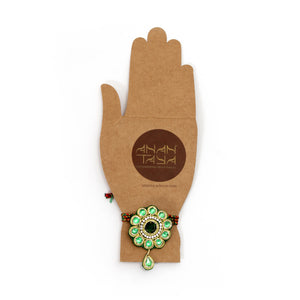 Jadau Brooch & Rakhi : Emerald Zardozi, Velvet, Artificial Gem Stones, crafted rakhi