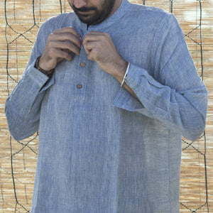 Kala Handspun Cotton Unisex Shirt Blue highly absorbent, soft, comfortable Apparels Accessories