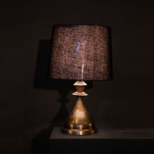 Kalash Lamp L Brass Cloth shade handbeaten brass thathera artisans table lamp lighting