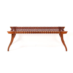 Leather Strap Bench L sheesham wood outdoor furniture classic design elegant comfortable Minimal wooden