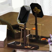 Mehr-un-Nissa Jewellery Stand Mango wood Brass Antique glass home decor table top organizer