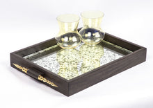 Mehr-un-Nissa Tray Mango wood Brass Antique glass home decor table top organizer