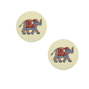 Pattachitra Coasters CD Gaaja Haathi (Elephant) set of 2  Handpaint CD Home Decor Dinning Serving