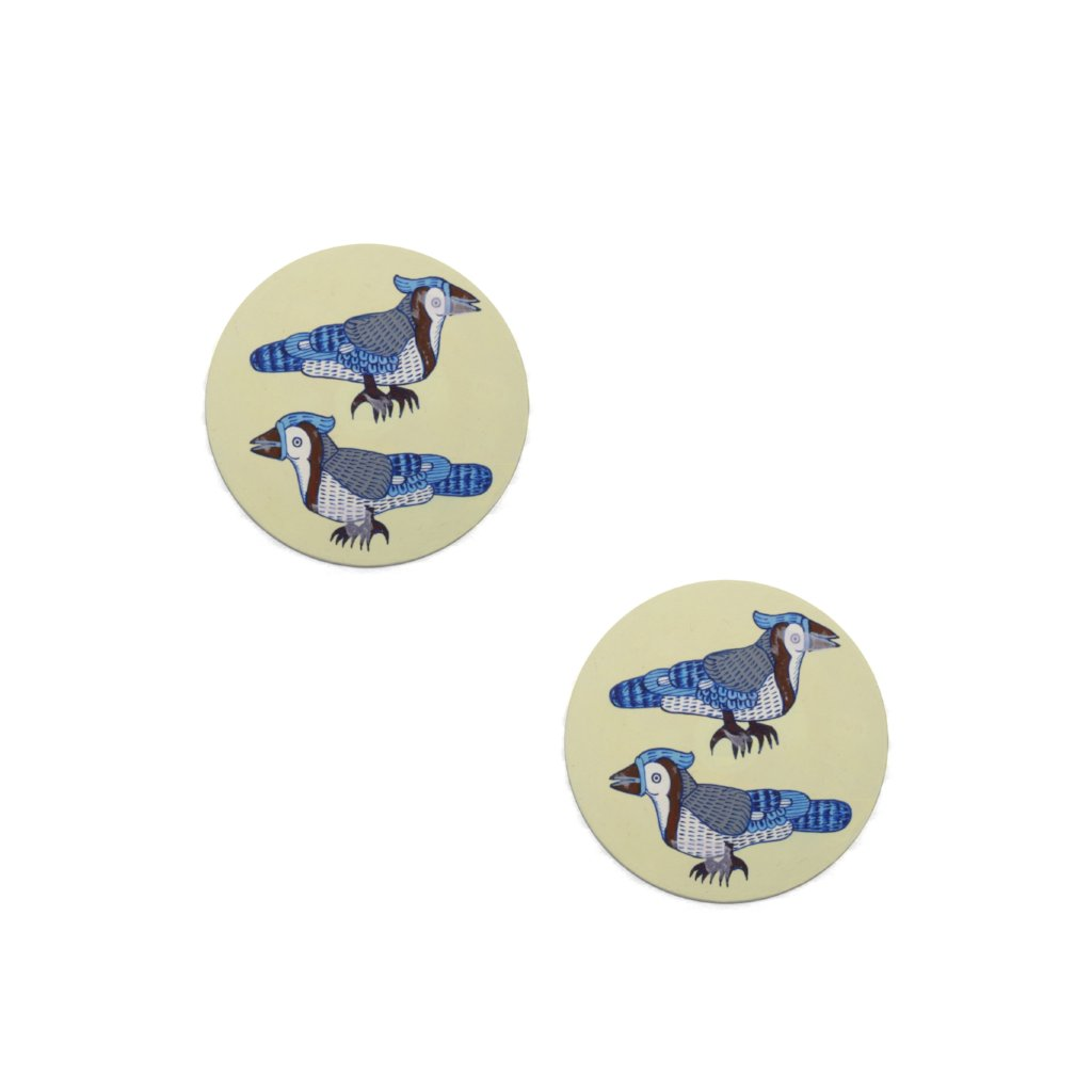 Pattachitra Coasters CD Gangajee Chadhaee (Two Blue Water Birds) set of 2