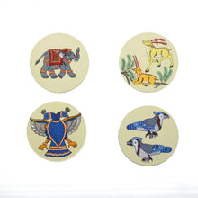 Pattachitra Coasters CD Naeliya Ganda Mayura (Blue Twin Headed Peacock) set of 2  Handpaint CD Home Decor Dinning Serving