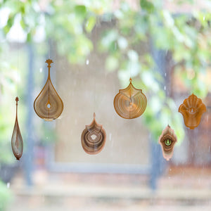 Rumi Hanging Mobile BR3 Brass natural laquer three dimensional home decor display outdoor